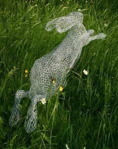Wire sculpture of Christine Moss.