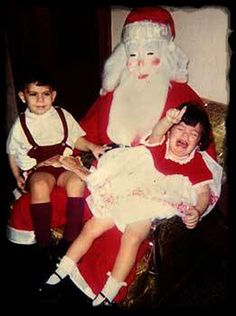 "yet another torturous moment for a child with a creepy Santa Claus for a ""necessary"" Christmas photo op..."