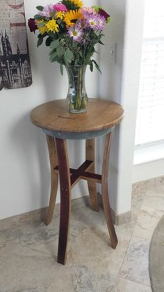 Wine Barrel French Oak Bistro Table - Made from Real Wine Barrel one of a kind