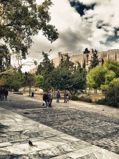 Acropolis Museum, Athens - the old one on the hill and a new ultra modern one just to the left of this picture. Loved walking down here between the two.