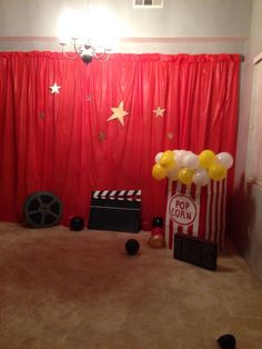 Red carpet decorations - use this as inspiration for your Hollywood theme classroom {picture only}