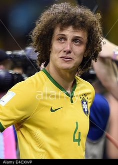Belo Horizonte, Brazil. 8th July, 2014. Brazil's #DavidLuiz looks on with tears after Germany beat Brazil 7-1 in #Worldcup Semi final. © Xinhua/Alamy Live News