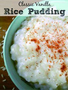 Classic Vanilla Rice Pudding - cake, cinnamon, dessert, milk, pudding, recipes, vanilla
