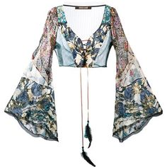 Roberto Cavalli floral lace front flared sleeve crop top