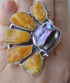 Flower | Silver Ring With Black Pearl And Honey Ambers - product images  of