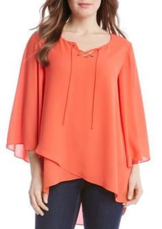 Karen Kane Women's Crossover Flare Sleeve Top - Orange - Xl