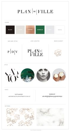 elegant and parisian inspired green black tan branding