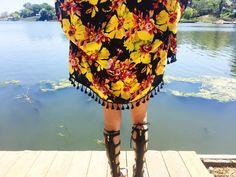 Black  Yellow Floral Fringe Kimono by StellaAndStosh on Etsy