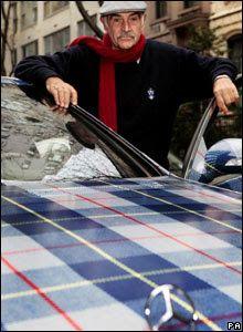 OMG... Sean Connery with a plaid Mercedes.