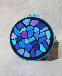 """Hand Embroidery Hoop Wall Art """"Hundertwasser Mosaic - Blue"""" -  hand embroidered 7"""" wall hanging on Etsy, $56.00"""