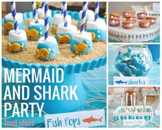 Pretty Real: Under the Sea! A joint Shark and Mermaid Birthday Party | 1000 Combined Birthday Parties, Sibling Birthday Parties, Joint Birthday Parties, Birthday Party Themes, Twin Birthday, Birthday Ideas, Birthday Activities, Mickey Birthday, Birthday Diy