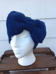 Womens Big Bow Knitted Headband ear warmer by WendysWonders127