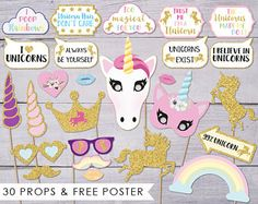 Unicorn Photo Booth Props, Unicorn Party, Photobooth Props, Unicorn Photo Props, Unicorn Photobooth, Photobooth Poster, Digital Download PDF