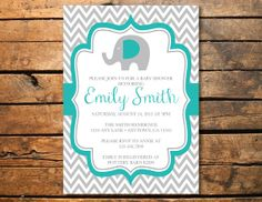 Little Elephant Turquoise Grey Chevron Baby Shower Birthday Party Printable Invitation
