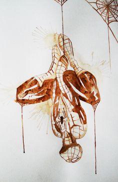 watercolorsforlandlubbers:Coffee java latte art of spiderman comic book hero web slinger pop art peter parker web head Spidey New York hero watercolor sepia tone