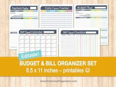 Budget and Bill Organizer Set - Editable, Personal Finance, Bill Organizer, Budget Planner, Money, Printables, Household, INSTANT DOWNLOAD on Etsy, $8.00