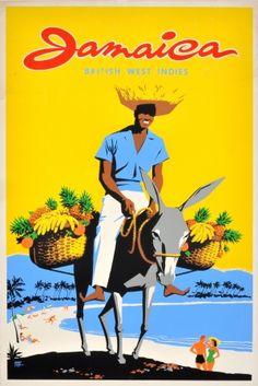 Jamaica West Indies, 1950s - original vintage poster by Mac Tey listed on AntikBar.co.uk