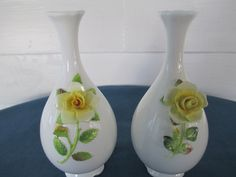 Vintage Pair Of Bone China Yellow Rose Vases Marked by BitofHope