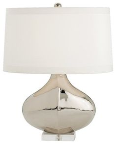 Asian Ebby Polished Nickel Acrylic Table Lamp contemporary table lamps