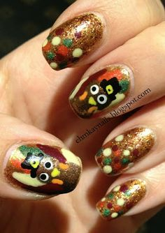 My Thanksgiving Turkey Nail Art  http://ehmkaynails.blogspot.com/2012/11/my-thanksgiving-turkey-nails.html