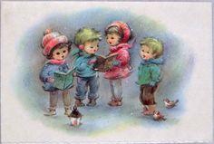 #914 60s GLITTERED Caroling Children, Vintage Christmas Card-Greeting