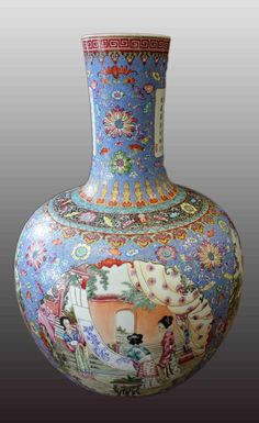 CHINESE FAMILLE ROSE PORCELAIN VASE - Estimated Price: $8,000 - $12,000 Description: A Huge Chinese Famille Rose Porcelain Vase, Republic 民囯,碩大開光粉彩天球瓶一個 大清乾隆年制款 H: 80 CM (31 1/2 IN)
