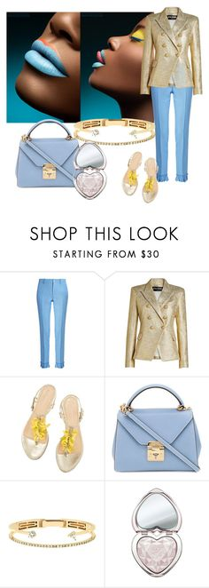 """""""Simply divine"""" by sofiacalo ❤ liked on Polyvore featuring Gucci, Balmain, Mark Cross, Delfina Delettrez and Too Faced Cosmetics"""