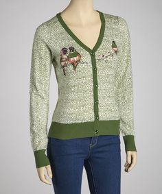 Green and has birds too!  2 of my favorite things!  Take a look at this Kelly Green Lovebirds Cardigan by Knitted Dove on #zulily today!