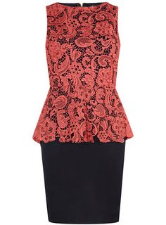 Coral lace peplum dress