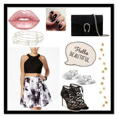 """Hello beautiful"" by jolieferne ❤ liked on Polyvore featuring Blondie Nites, Lime Crime, Alex and Ani, Glitzy Rocks, Pour La Victoire, Gucci and Livingly"