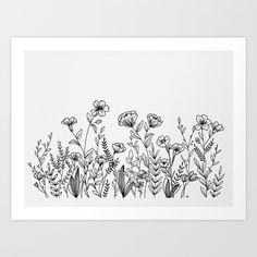 Field of Wildflowers Art Print by wildbloomart. Worldwide shipping available at Society6.com. Wildbloom, drawing, floral art, flower drawing, botanical art, modern florals, pen and ink drawing, ink drawing, flowers, wildflower, WildBloom, entrepreneur, black and white, hand drawn, floral, micron pen