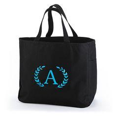 Crest Monogram Tote Bag http://bustlingbride.carlsoncraft.com/Wedding/Wedding-Party-Gifts/ZB-ZBKX50363P-Crest-Monogram--Tote-Bag--Black.pro