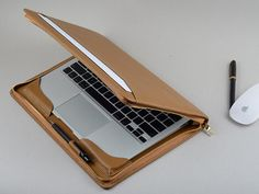 Light Khaki Leather Zipper Around Portfolio Cover for Apple Mac Air Laptop with Full Protection Macbook Air Case