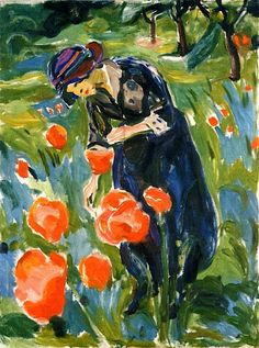Edvard Munch: Woman with Poppies, 1919. -Absolutely love the color& composition.