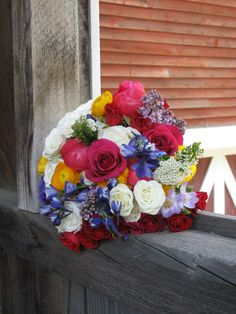 Colorful wedding flowers for Vermont wedding. Rustic bouquet, Flowers at The Skinner Barn, Waitsfield, VT, Floral Artistry
