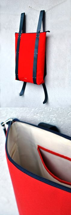 Red Backpack, Canvas and leather Premium rucksack by InconnuLAB. Handcrafted bags and backpacks.  Where to find it: http://www.inconnulab.com/product/zipper-daypack-202 Or in our Etsy store: https://www.etsy.com/listing/482701229/waterproof-canvas-backpack-premium?ref=listing-shop-header-2