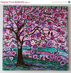 Large original painting Folk tree and black birds in light pink rose, purple,violet and green by Vadal. $143.40, via Etsy.