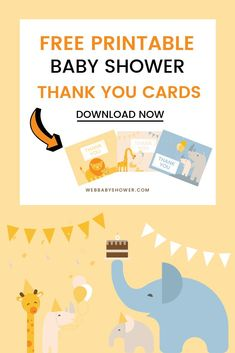 10 Free & Delightful Printable Baby Shower Thank You Cards Budget Baby Shower, Virtual Baby Shower, Baby Girl Shower Themes, Baby Shower Fun, Boy Shower, Elegant Baby Shower, Gender Neutral Baby Shower, Free Baby Shower Printables, Free Printable