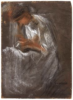 Umberto Boccioni (Italian, Donna che legge [Woman reading], Coloured chalk on paper prepared with grey bodycolour, 42 x cm. Umberto Boccioni, Reggio Calabria, Colored Chalk, Italian Painters, Public Art, Beautiful Paintings, Artist Art, Art Museum, Saatchi