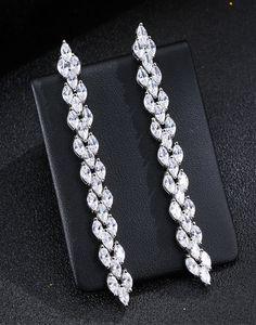 Cercei lungi de mireasa cu zirconii albe Tik Tok, Swarovski, Diamond, Jewelry, Bracelets, Fashion, Moda, Jewlery, Jewerly