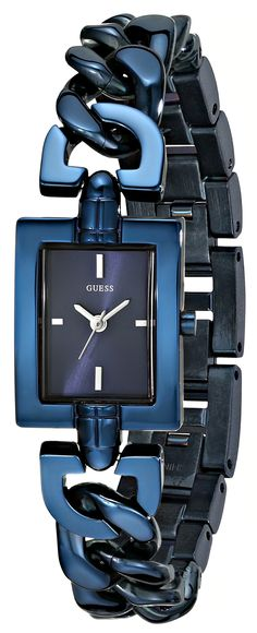 GUESS Women's U0437L4 Petite Iconic Blue Chain Watch with Self-Adjustable Bracelet