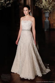 legends by romona keveza spring 2014 strapless a line lace wedding dress style l503