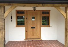 Traditional front doors made from oak and hardwoods Cottage Front Doors, Porch Doors, Cottage Door, Wood Front Doors, House Front Door, Painted Front Doors, Oak Doors, Windows And Doors, Upvc Windows