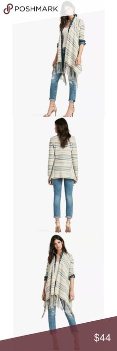 Lucky Brand Fringe Striped Sweater Details  Complete any of our denim with a striking stripe-patterned 3rd piece, featuring a tassel-fringed hem, long sleeves and an open front. Fabric & Care  60% COTTON 40% POLY MACHINE WASH COLD WITH LIKE COLORS WASH IN A NET BAG DO NOT BLEACH LAY FLAT TO DRY COOL IRON OR DRY CLEAN  IMPORTED Lucky Brand Sweaters Cardigans