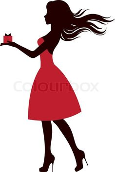 Vector of 'Silhouette of a girl with a gift' Silhouette Art, Silhouette Projects, Image Deco, Gift Vector, Doodle Art, Paper Art, Pin Up, Silhouettes, Girly