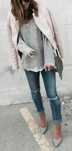 #winter #fashion /  Grey Knit + Light Bomber Jacket