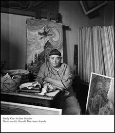 Emily Carr in her studio. Photo by Harold Mortimer-Lamb