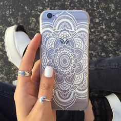 Mandala iPhone 6 Case NEW! No trades. Protective. Soft bendable plastic material. Clear case with white mandala design. Fits iPhone 6. Bundles are welcome! Price is negotiable through the offer button! Accessories Phone Cases