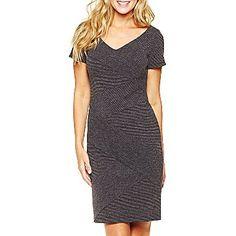 Alyx® Short Sleeve V-Neck Textured Dress - jcpenney