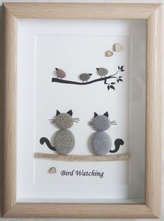 Your place to buy and sell all things handmade,This is a beautiful small Pebble Art framed Picture of 2 Cats watching Birds- Bird Watching handmade by myself using Pebbles and Driftwood Size of Pic. Art Diy, Diy Wall Art, Frame Crafts, Cat Crafts, Stone Crafts, Rock Crafts, Pebble Pictures, Art Pictures, Caillou Roche